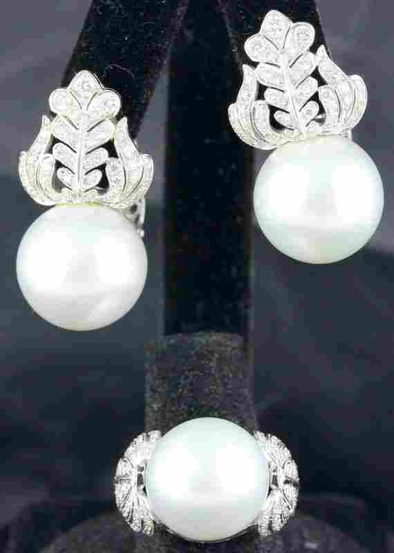 18Kt WG & South Sea Cultured Pearl & Diamond Suite