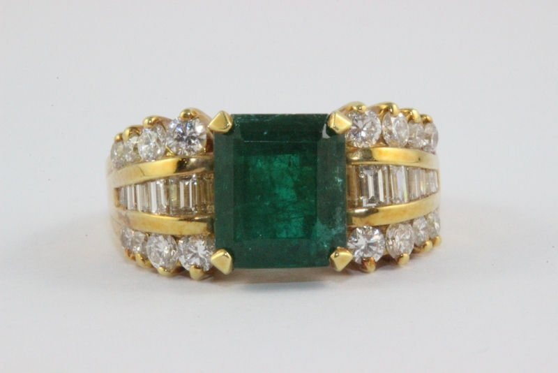 Fine Contemporary Colombian Emerald Diamond Band BY