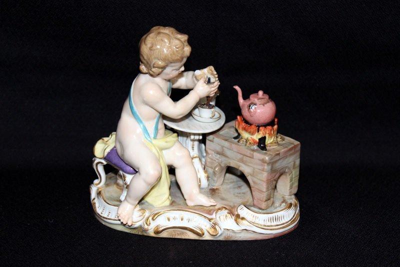 Meissen Hand Painted Porcelain Boy Making Tea