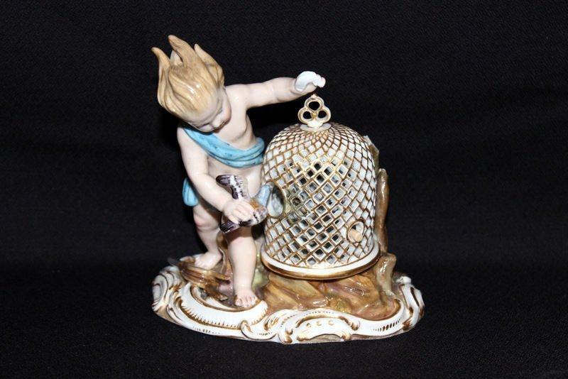 Meissen Hand Painted Porcelain Boy w/ Bird