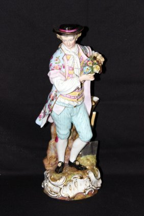 Large Meissen Hand Painted Porcelain Of Man