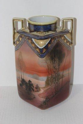 Nippon Hand Painted Porcelain Handled Vase