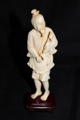 Chinese Carved Ivory Figure Of Fisherman