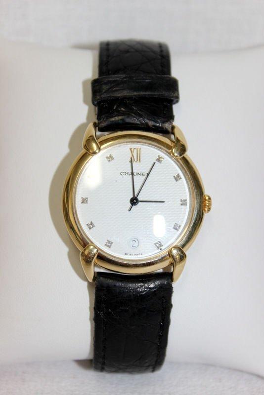 Chaumet 18Kt YG Diamond Leather Strap Watch