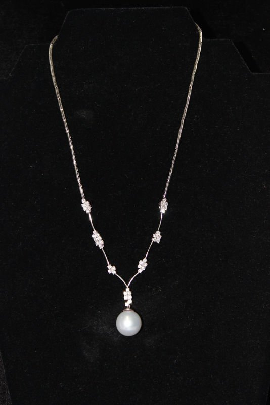 18Kt WG 14.00MM Pearl & 1.82ct. Diamond Necklace