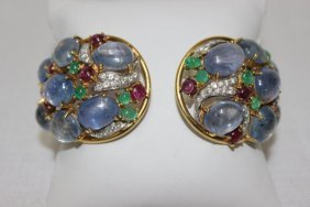 Sabbadini Milano 18kt Yg Sapphire, Ruby, Emerald &