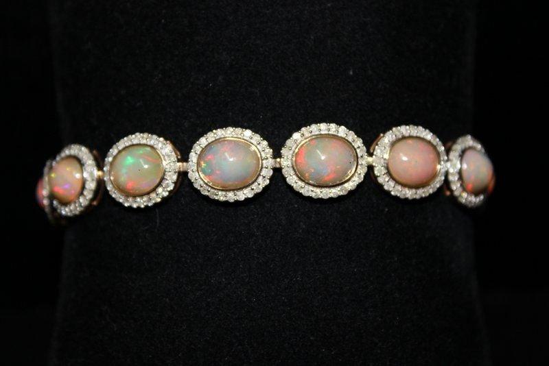 14Kt YG 16.20ct. Opal & 3.67ct. Diamond Bracelet