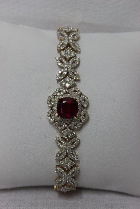 14Kt YG 4.94ct. Ruby & 4.00ct. Diamond Bracelet