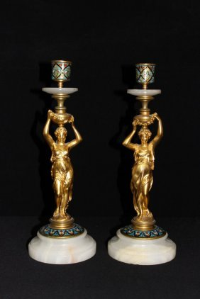 19th C. French Champleve Dore Bronze Candlesticks