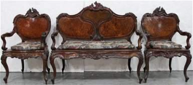 Antique Victorian Carved Walnut Set
