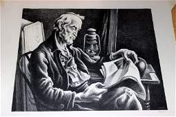 "Thomas Hart Benton ""Old Man Reading"" Lithograph"