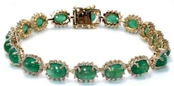 14Kt YG 1694ct Emerald  139ct Diamond Bracelet
