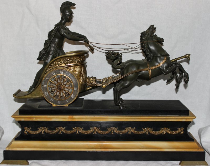 19th C. French Bronze & Marble Chariot Mantel Clock