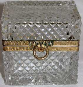 Beautiful French Cut Crystal & Bronze Box