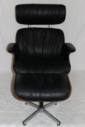 Eames Style Black Leather Lounge Chair & Ottoman
