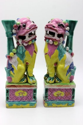 Pair Of Antique Chinese Hand Painted Porcelain Foo Dogs