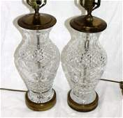 Pair of Waterford Cut Crystal Lamps
