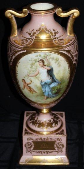 Royal Vienna Hand Painted Porcelain Handled Urn