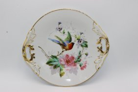 Kpm Hand Painted Handled Serving Plate