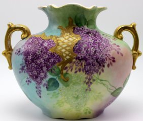 Vienna Austrian Hand Painted Handled Vase