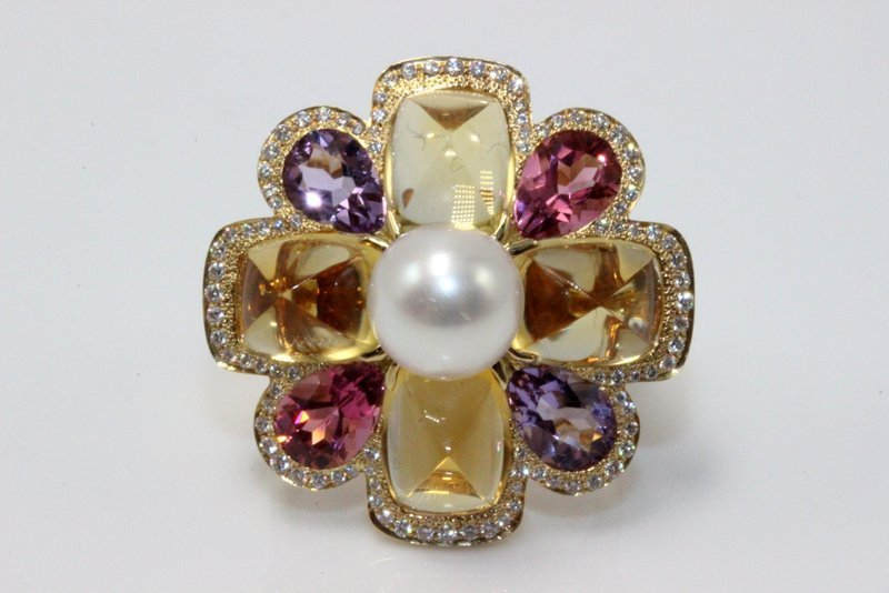 Chanel 18Kt YG Pearl, Pink Tourmaline, Amethyst,