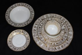 "72 Pc. Wedgwood ""gold Florentine"" Bone China Set"