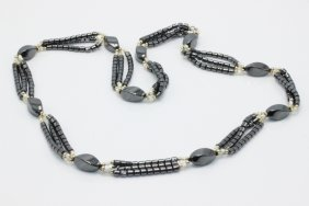 14kt Yg Hematite & Seed Pearl Necklace