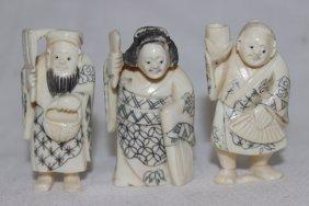 3 Pc. Chinese Carved Polychrome Ivory Netsuke's