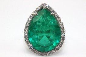 14kt Wg 20.00ct. Emerald & Diamond Ring