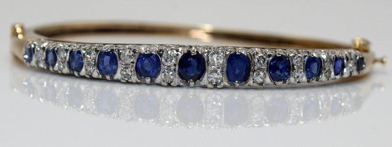 14Kt YG 1.47ct. Sapphire & 0.36ct. Diamond Bangle