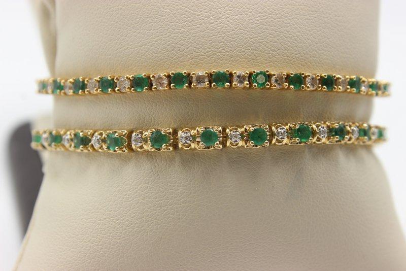 10-14Kt YG Emerald & Diamond Bracelets