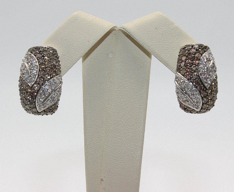 18Kt WG 2.00ct. Brown & White Diamond Earrings