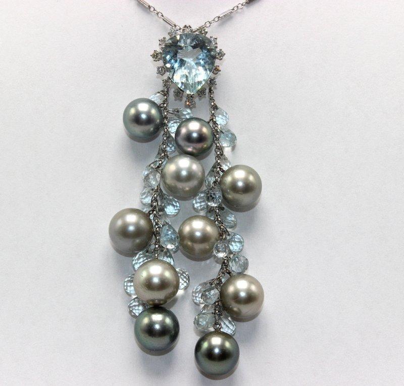 14Kt WG Tahitian Pearl & 14.00ct. Aquamarine Necklace