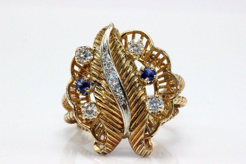 14Kt YG 0.49ct. Diamond & 0.10ct. Sapphire Ring