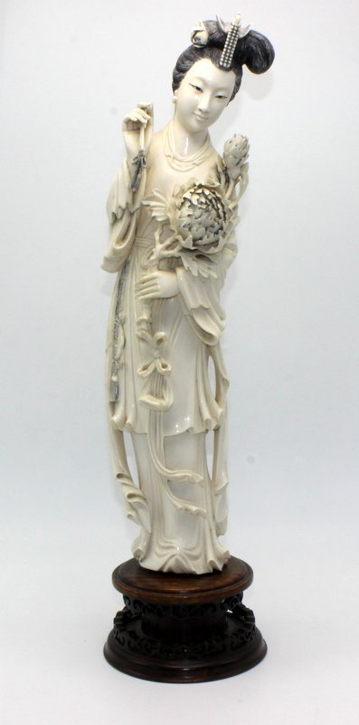 Large Chinese Carved Ivory Quan Yen