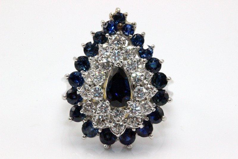 14Kt WG 1.40ct. Sapphire & 1.20ct. Diamond Ring