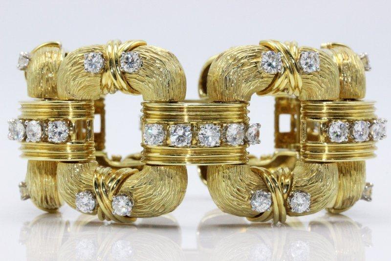 18Kt YG 16.80ct. Diamond Link Bracelet