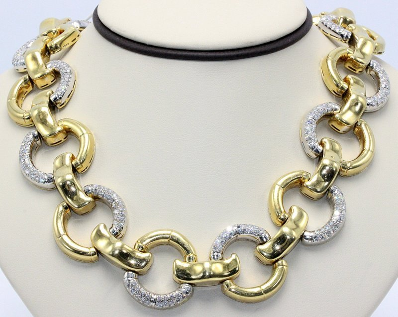 Gucci 1970's 18Kt YG 20.00ct. Diamond Bamboo Necklace