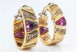 18Kt YG Rubelite  Diamond Earrings