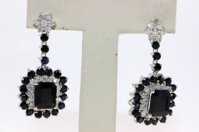 14kt Wg 13.53ct. Sapphire & 1.87ct. Diamond Earrings
