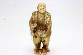 Beautiful Japanese Carved Polychrome Ivory Mushroom