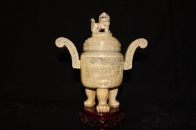 Antique Chinese Carved Ivory Figural Censer