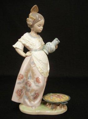 "Lladro ""valencianita Con Paelta"" #5254 Porcelain Figure"