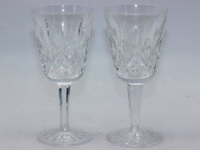 """11 Pc. Waterford """"lismore"""" Crystal White Wine Glasses"""