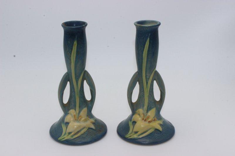Pair of Roseville Candleholders