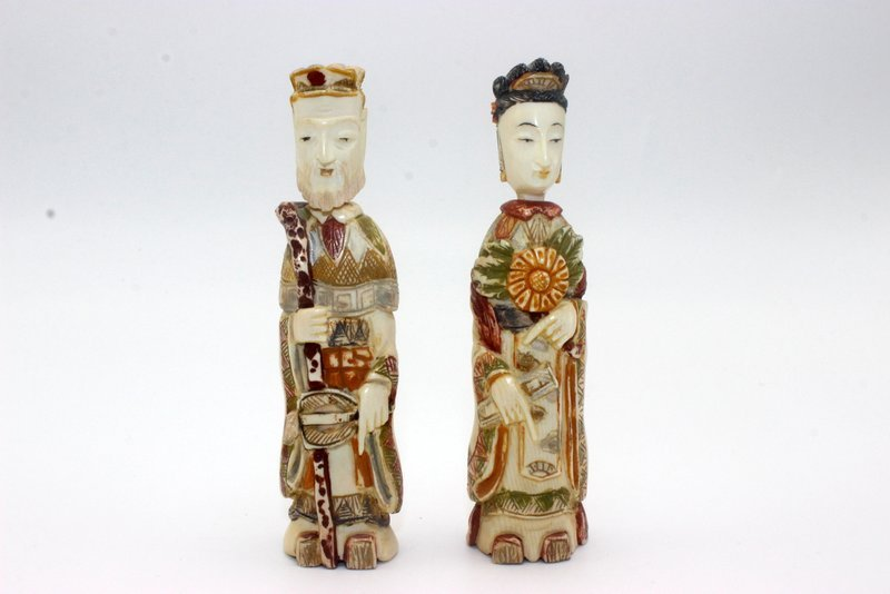Pair of Chinese Carved Polychrome Ivory Snuff Bottles