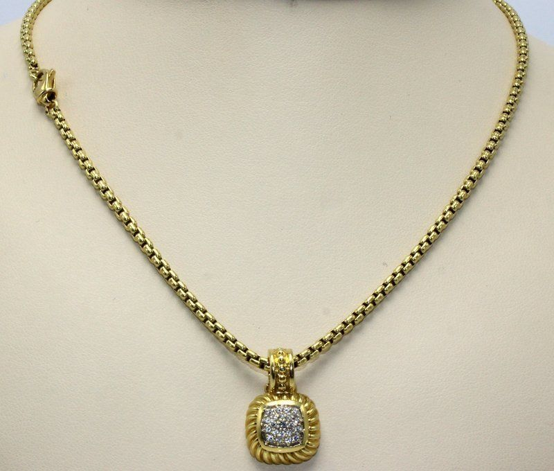 David Yurman 18Kt YG & Diamond Pendant w/ Necklace