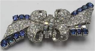 Cartier Platinum Diamond & Sapphire Double Clip Brooch