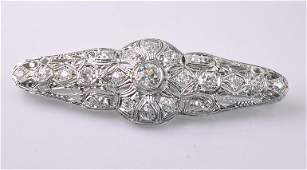 Beautiful Art Deco Platinum  Diamond Bar Brooch