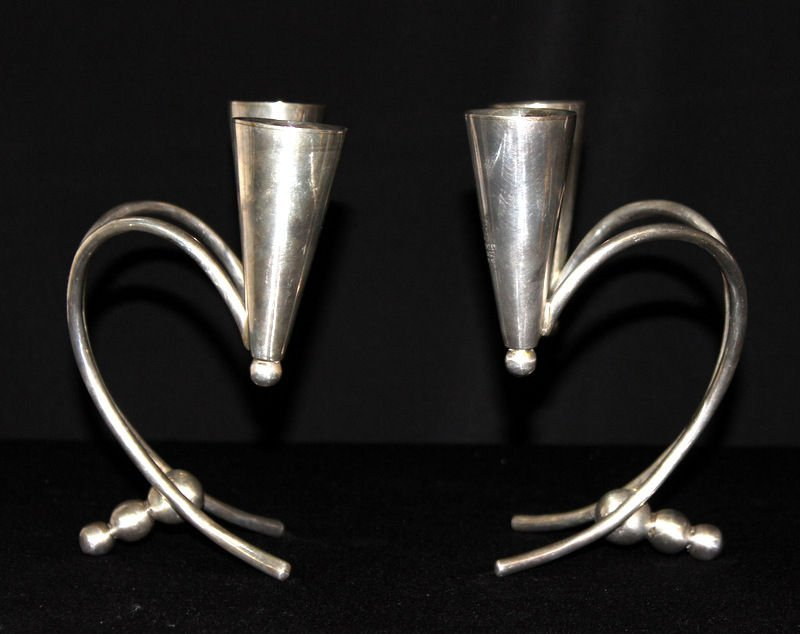 Pair of Mid-Century Modernist Sterling Candlesticks